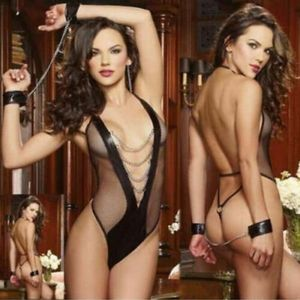 Sexy Chain Link Bodysuit with Handcuffs